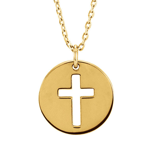 Yellow Gold Cross Disc Pendant Necklace