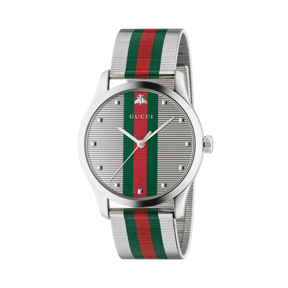 Gucci G-Timeless 42mm Stainless Steel Mesh Watch angle