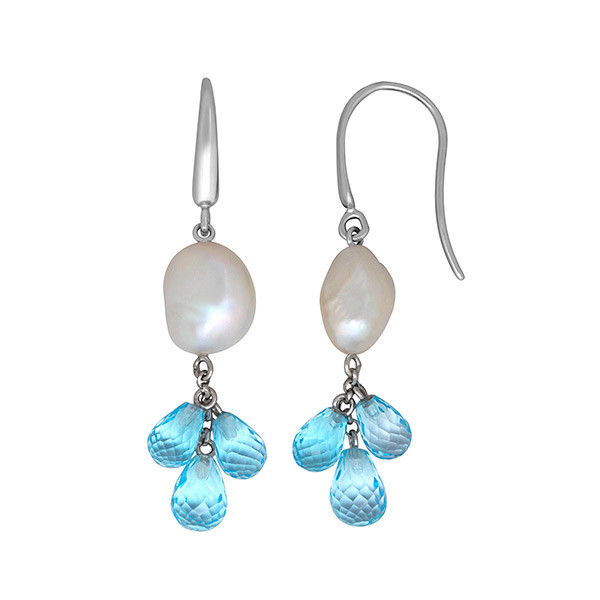 Honora White Keshi Pearl & Sky Blue Topaz Dangle Earrings
