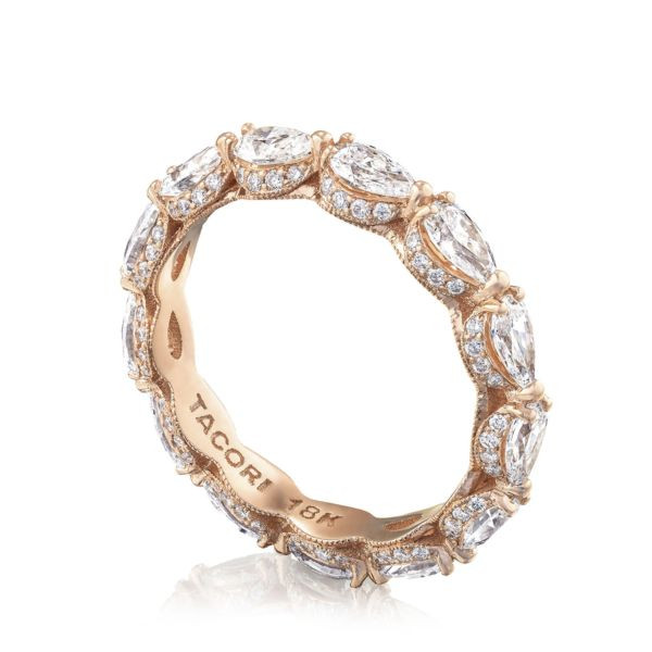 Tacori RoyalT Pear Pavé Diamond Eternity Band in 18K Gold angle view
