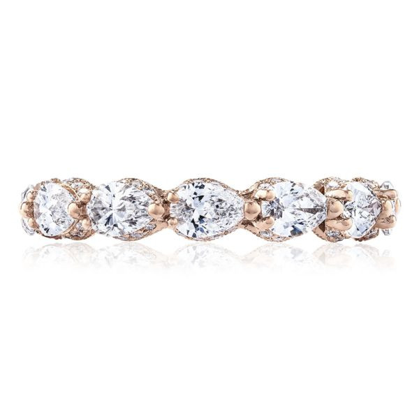 Tacori RoyalT Pear Pavé Diamond Eternity Band in 18K Gold front view