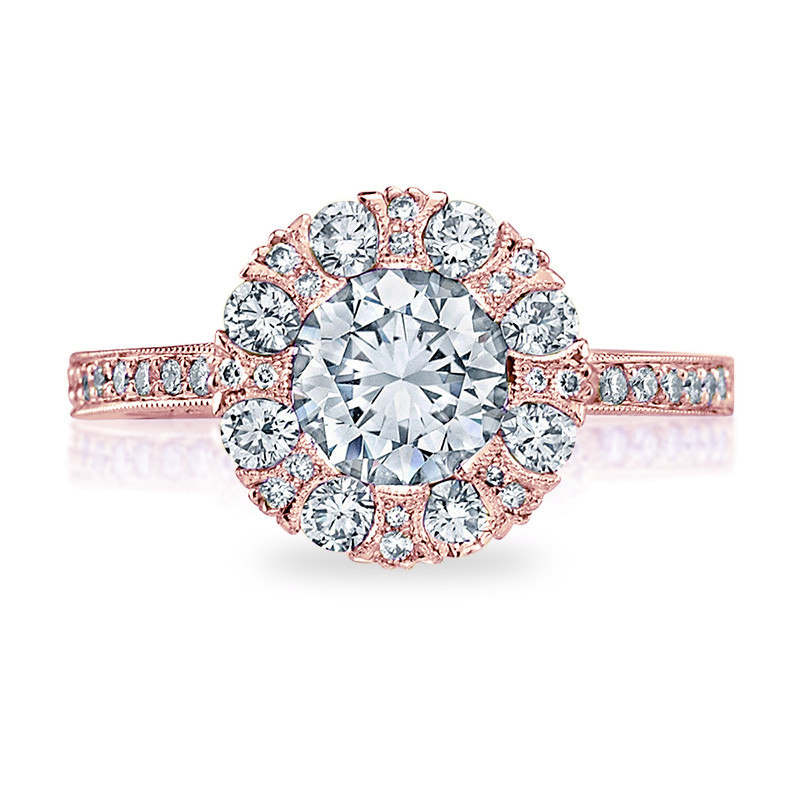 Tacori 2642RD6.5 Rose Gold Bloom Engagement Ring Simply Tacori Setting Top View