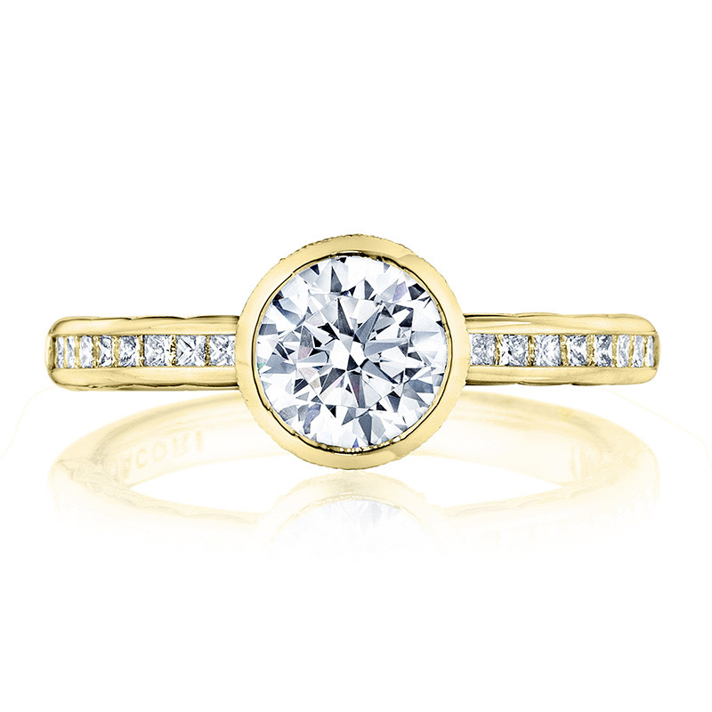 Tacori 301-25RD6-25 Channel Set Yellow Gold Engagement Starlit Setting Top View