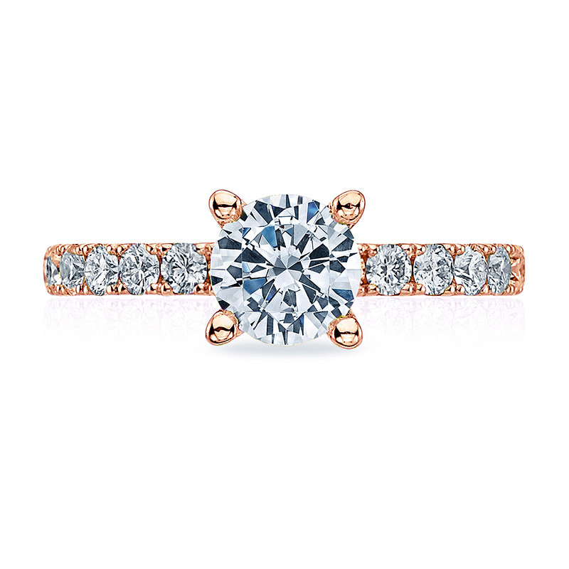 Tacori 33-25RD6.5 French Cut Rose Gold Engagement Clean Crescent Setting Top View
