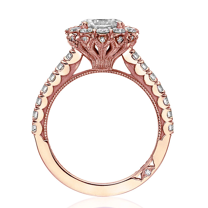 Tacori 37-2RD6.5 Diamond Half Way Rose Gold Engagement Full Bloom Setting Edge View