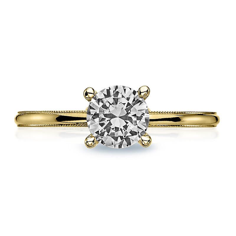 Tacori 40-15RD5 Milgrain Solitaire Yellow Gold Engagement Sculpted Crescent Setting Top View