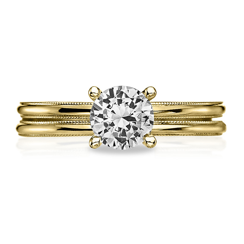 Tacori 40-15RD5 Milgrain Solitaire Yellow Gold Engagement Sculpted Crescent Setting with Band