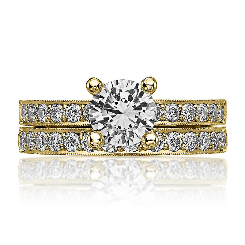 Tacori 41-25RD7.5 Milgrain Half Way Yellow Gold Engagement Sculpted Crescent Setting with Band