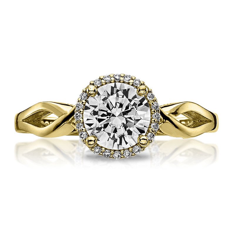 Tacori 52RD6.5 Bloom Halo Twisted Yellow Gold Engagement Sculpted Crescent Setting Top View