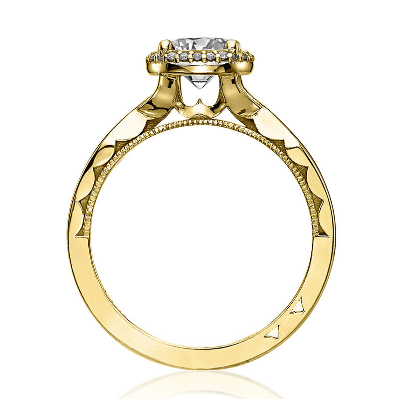 Tacori 52RD6.5 Bloom Halo Twisted Yellow Gold Engagement Sculpted Crescent Setting Edge View
