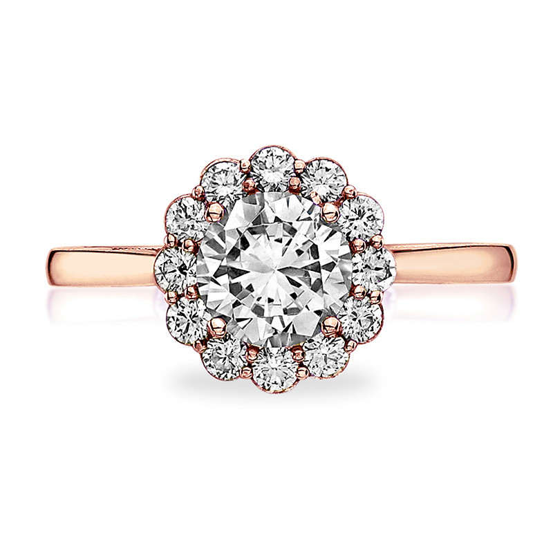 Tacori 55-2RD5 Rose Gold Diamond Halo Engagement Full Bloom Setting Top View