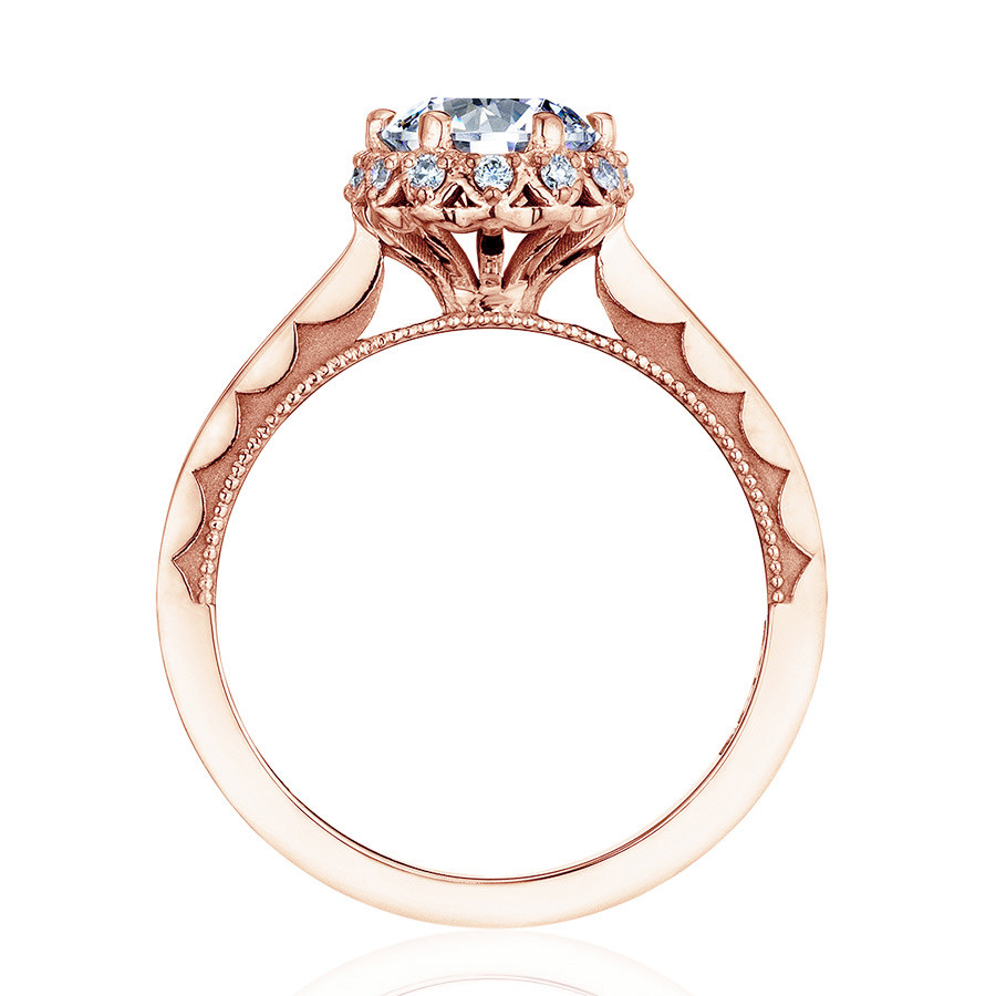 Tacori 59-2RD5-PK Sculpted Crescent Floral Rose Gold Engagement Ring Setting Side View