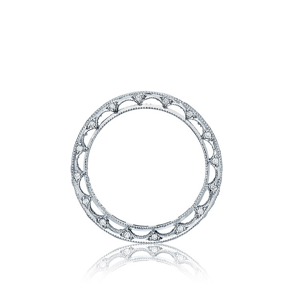 Platinum Reverse Crescent Channel Set Eternity Band