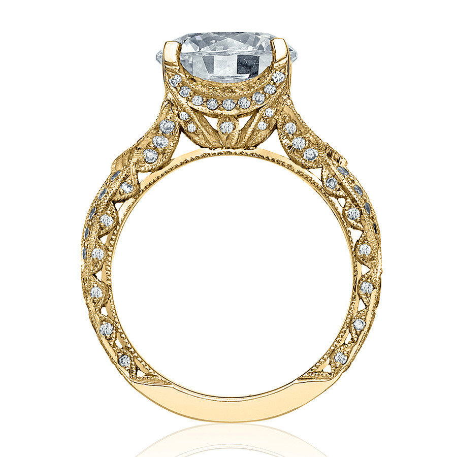 Tacori HT2606RD85 Diamond Ribbon Yellow Gold Engagement RoyalT Setting Edge View