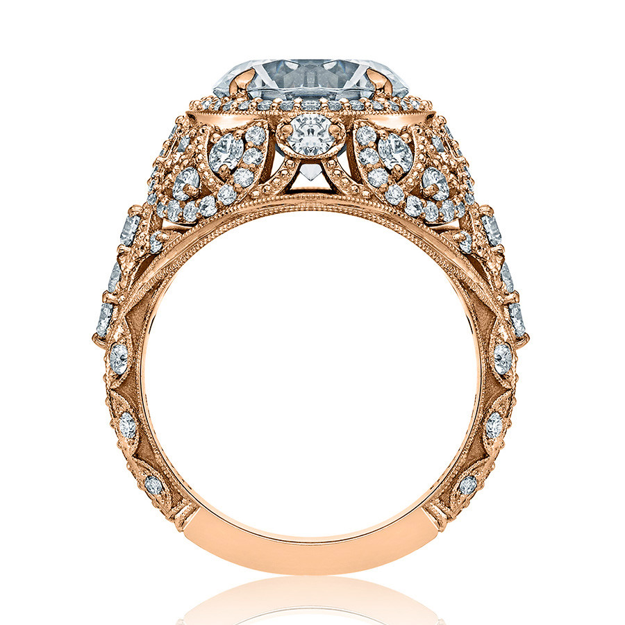 Tacori HT2612RD10 Sculpted Bloom Rose Gold Engagement RoyalT Setting Edge View