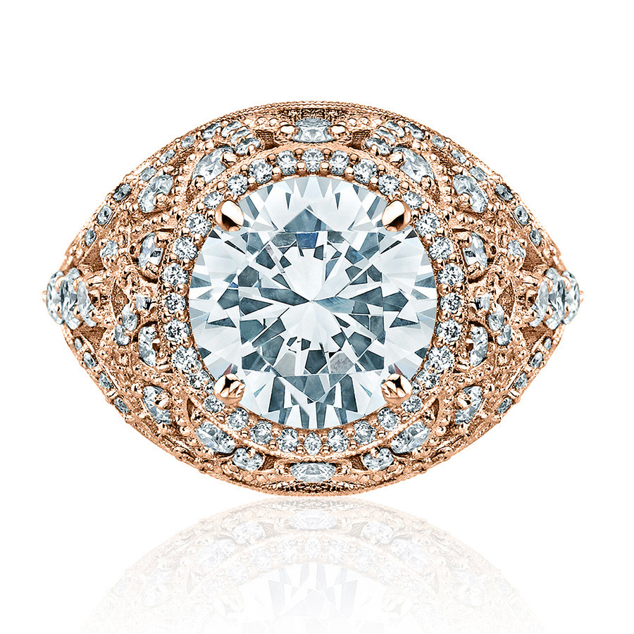 Tacori HT2612RD10 Sculpted Bloom Rose Gold Engagement RoyalT Setting Top View