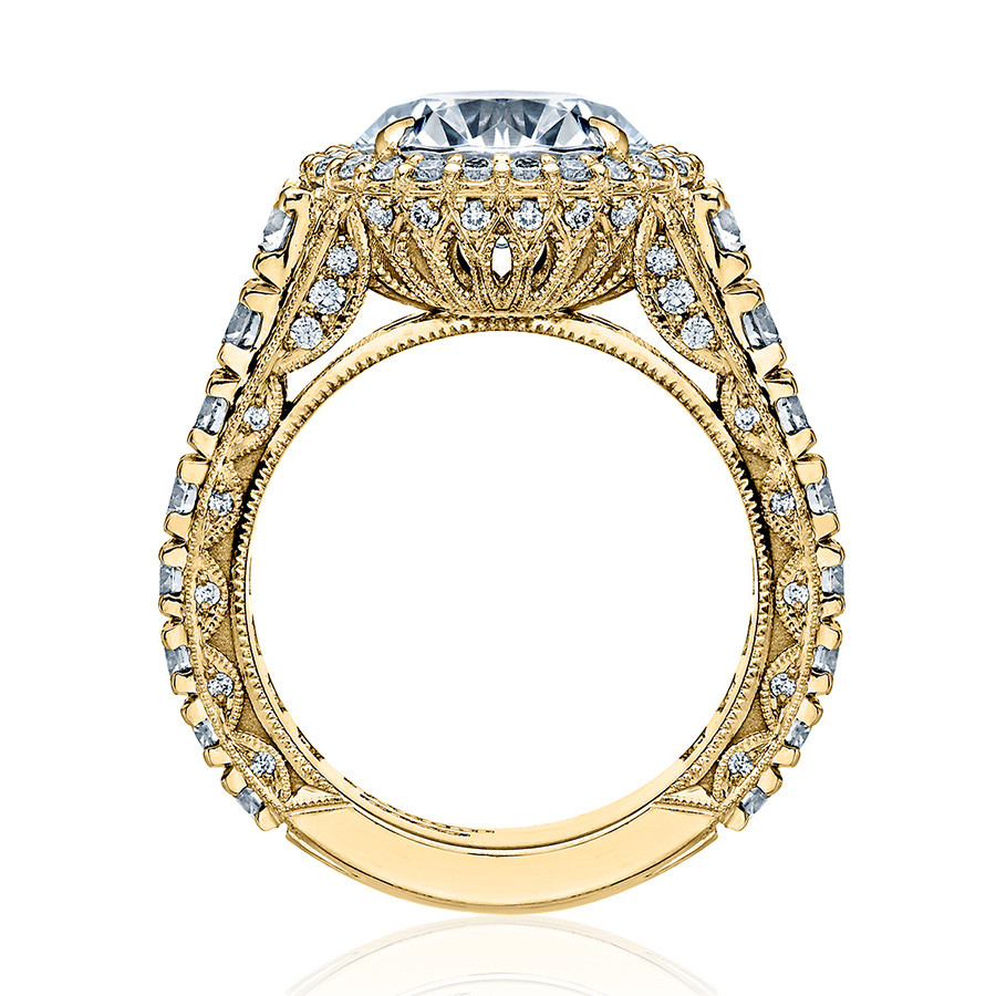 Tacori HT2612RD8 Yellow Gold Sculpted Bloom Engagement RoyalT Setting Edge View