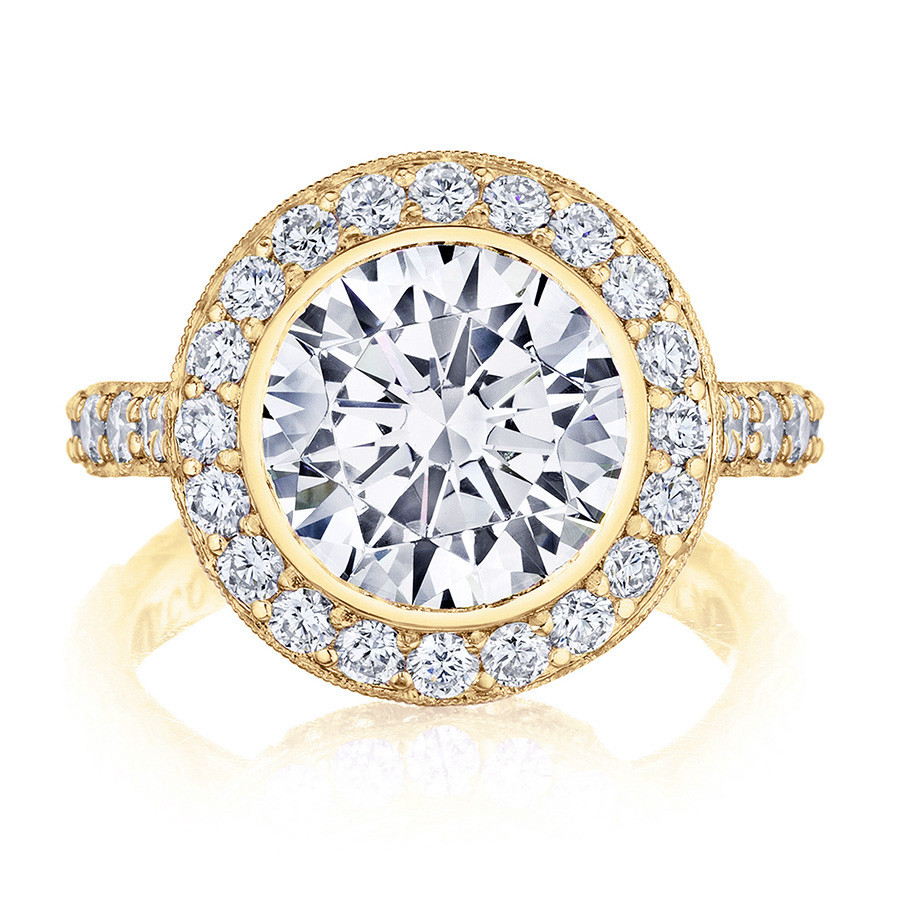 Tacori HT2614RD9 Yellow Gold Diamond Bloom Engagement RoyalT Setting Top View