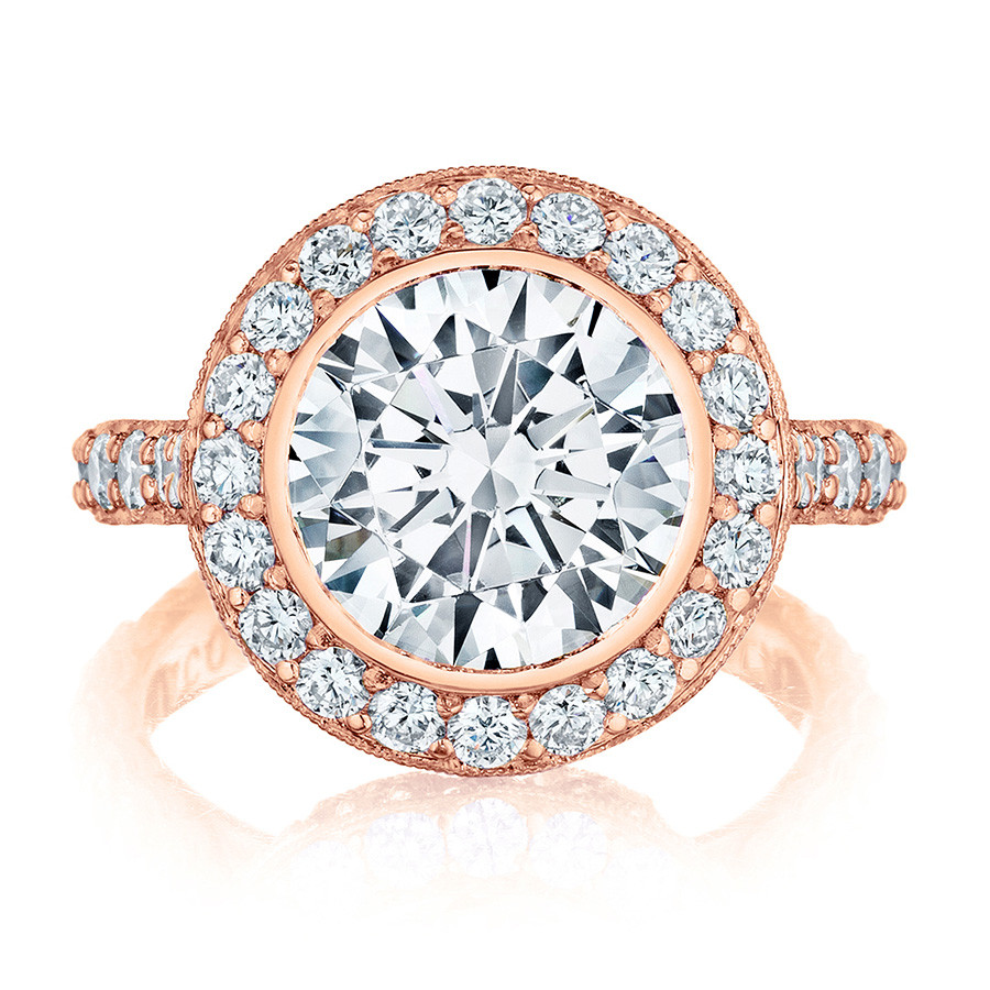 Tacori HT2614RD9 Rose Gold Diamond Bloom Engagement RoyalT Setting Top View