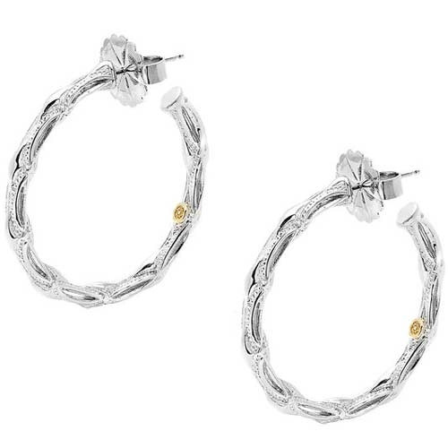 Tacori 18K925 Medium Sterling Silver Crescent & Milgrain Engraved Hoop Earrings