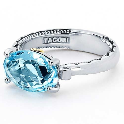 Tacori 18K925 Oval Shaped Sterling Silver Ring with Sky Blue Topaz Center