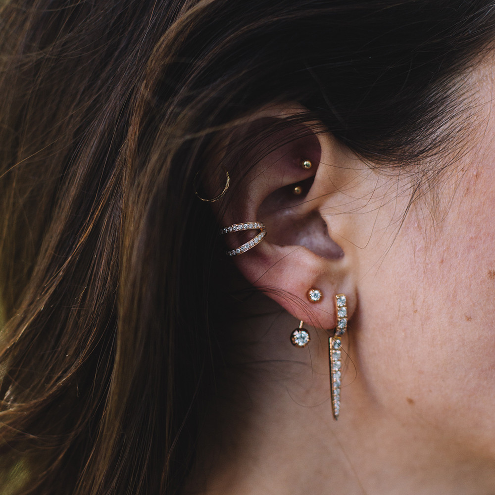 Carbon & Hyde 14kt Rose Gold Thorn Earrings on model
