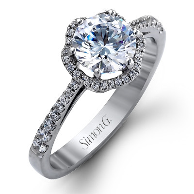 Simon G TR468 Passion Pave Flower Halo Engagement Setting