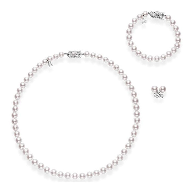 Mikimoto Akoya Pearl Necklace, Bracelet and Studs Box Set