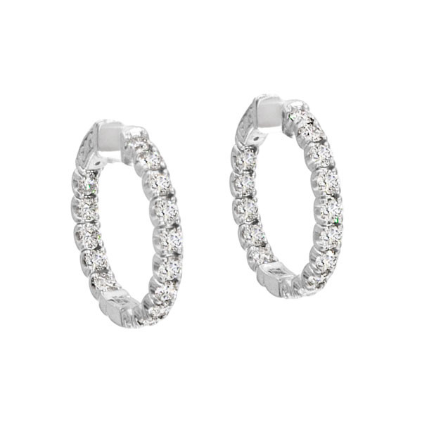 3.00ctw Diamond White Gold Hoop Earrings
