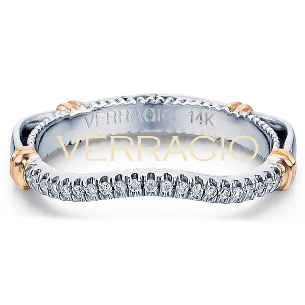 Verragio Parisian Pave & Milgrain Curved Rose Gold Accent Halfway Wedding Band