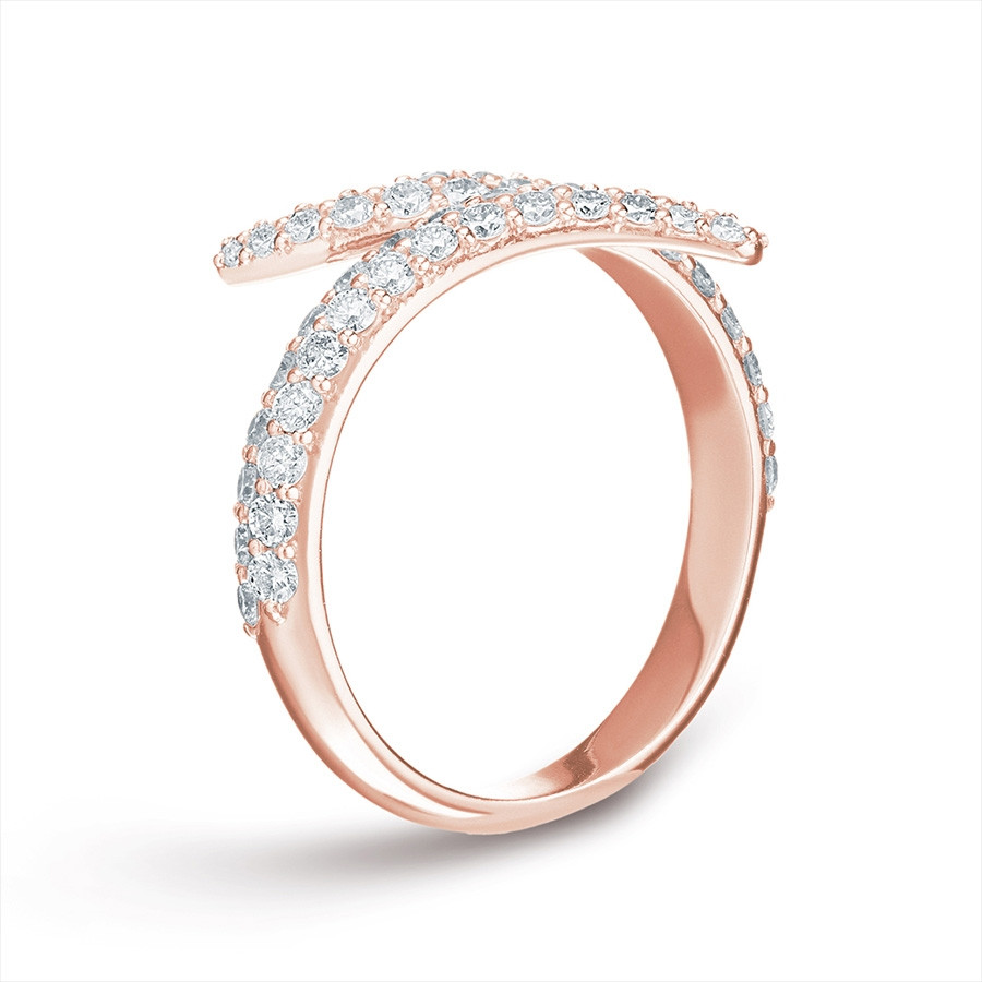 Carbon & Hyde Rose Gold Pave Diamond Viper Bypass Ring Side View