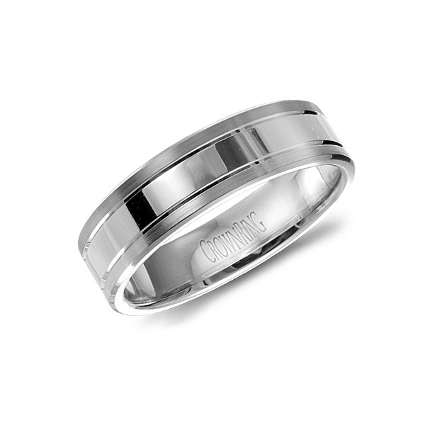 Crown Ring White Gold Polished Center 6mm Band