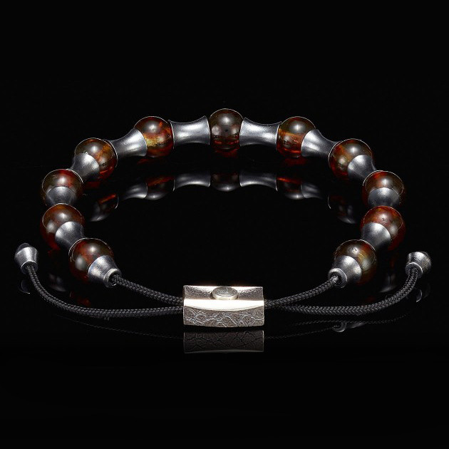 William Henry Adjustable Amber Zenith Bead Bracelet Front View