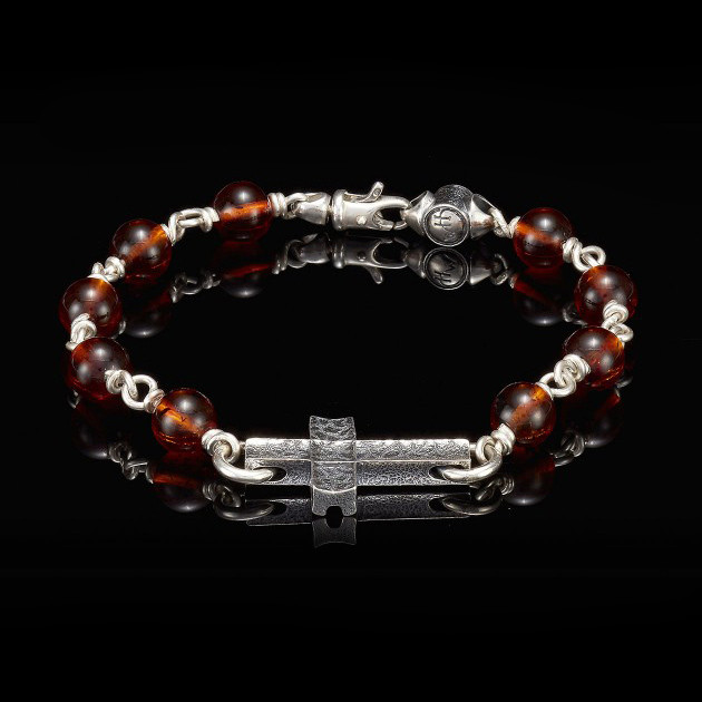 William Henry Silver Cross Amber Sanctum Bracelet Front View