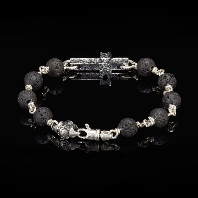 William Henry Silver Cross Lava Sanctum Bracelet Back View