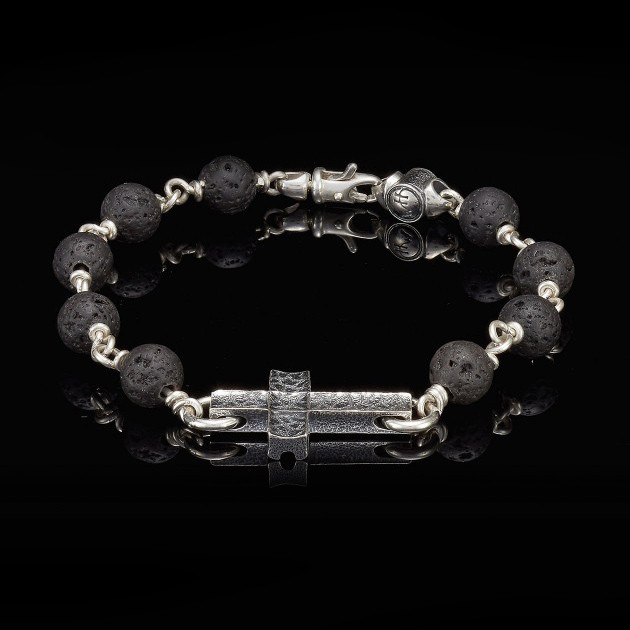 William Henry Silver Cross Lava Sanctum Bracelet Front View