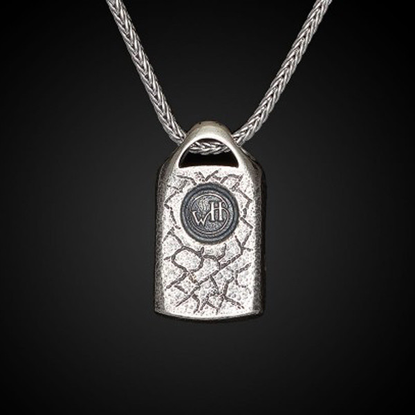 William Henry Dog Tag Carbon Spark Necklace Back View
