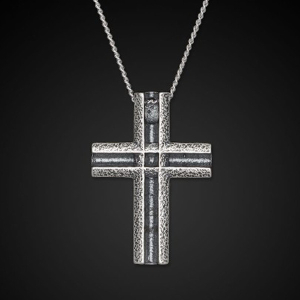 William Henry Sterling Silver Unum Cross Necklace Front View