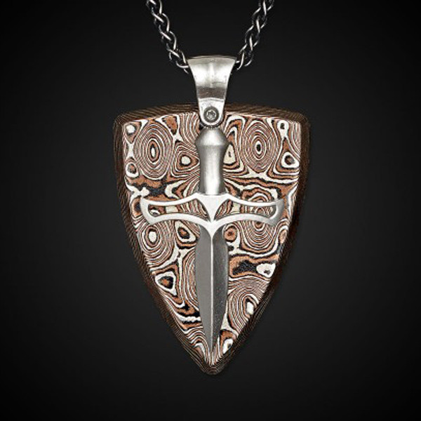 William Henry Silver Shield Mokume Joust Necklace Front View