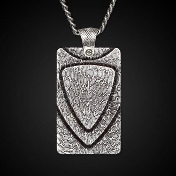 William Henry Dog Tag Damascus Forge Necklace Front View