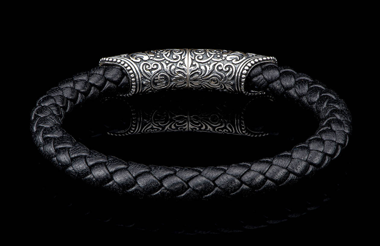 William Henry Milan Silver and Black Leather Bracelet back view