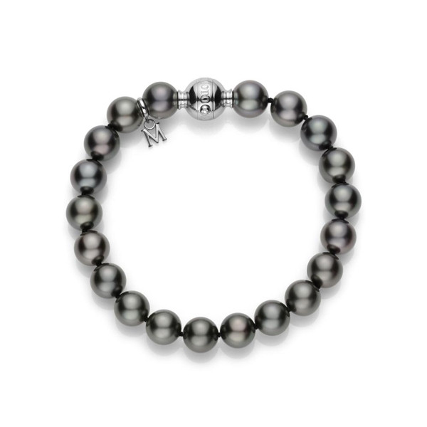 Mikimoto 10 x 8mm A+ Black South Sea Pearl Strand Bracelet