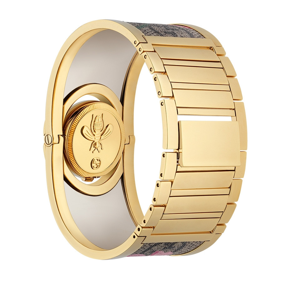 Gucci Gold and Canvas Twirl Bracelet Watch Angle View