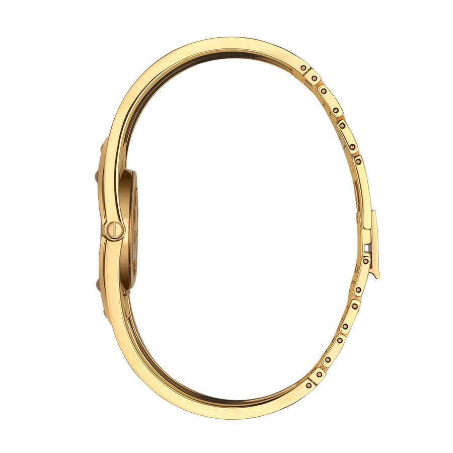 Gucci Gold and Canvas Twirl Bracelet Watch Side View
