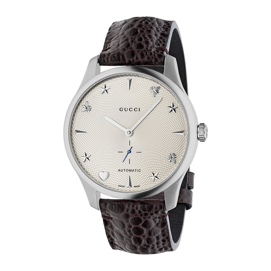 Gucci Silver House Motif Dial & Brown G-Timeless Leather Watch