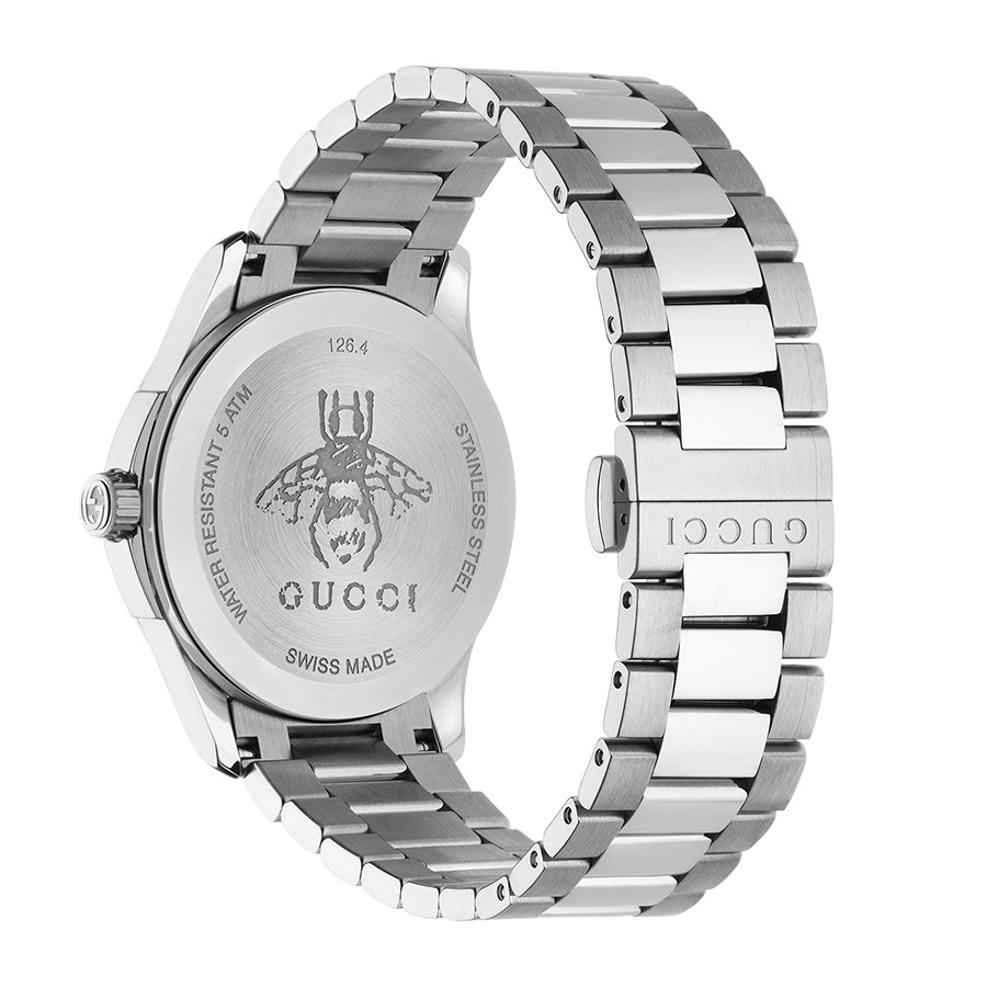 Gucci Stainless Steel 38mm House Motif Dial G-Timeless Watch Angle View