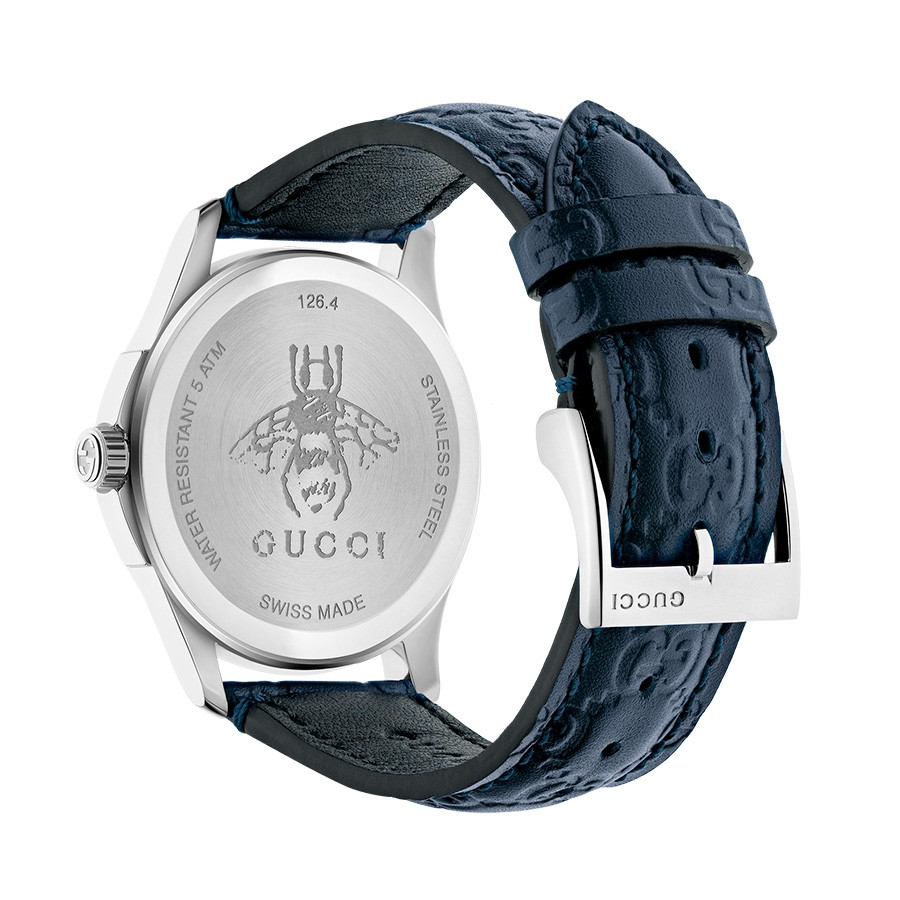 Gucci Dark Blue G-Timeless GG Debossed Dial Watch Back View