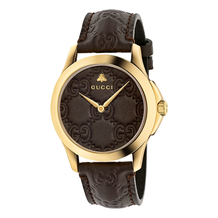 Gucci Signature 38mm Yellow Gold Dark Brown G-Timeless Leather Watch