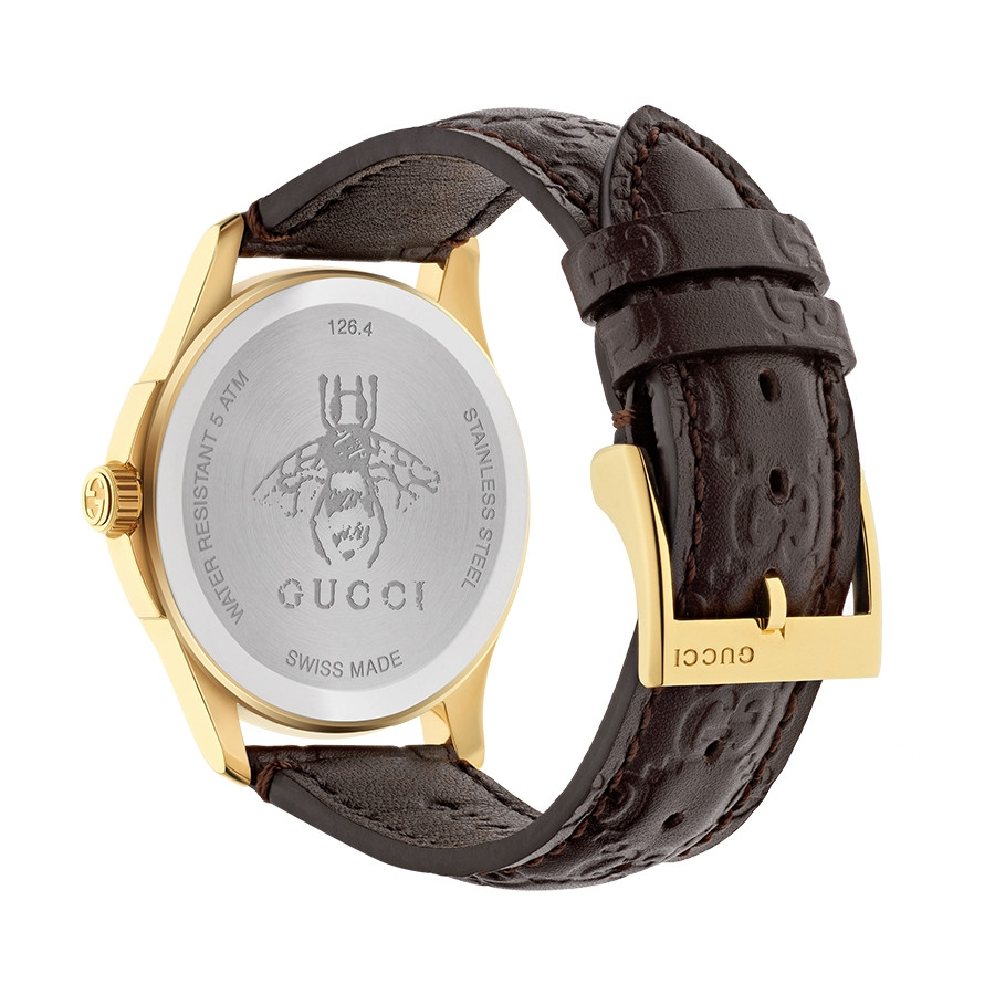 Gucci Signature 38mm Yellow Gold Dark Brown G-Timeless Leather Watch Angle View
