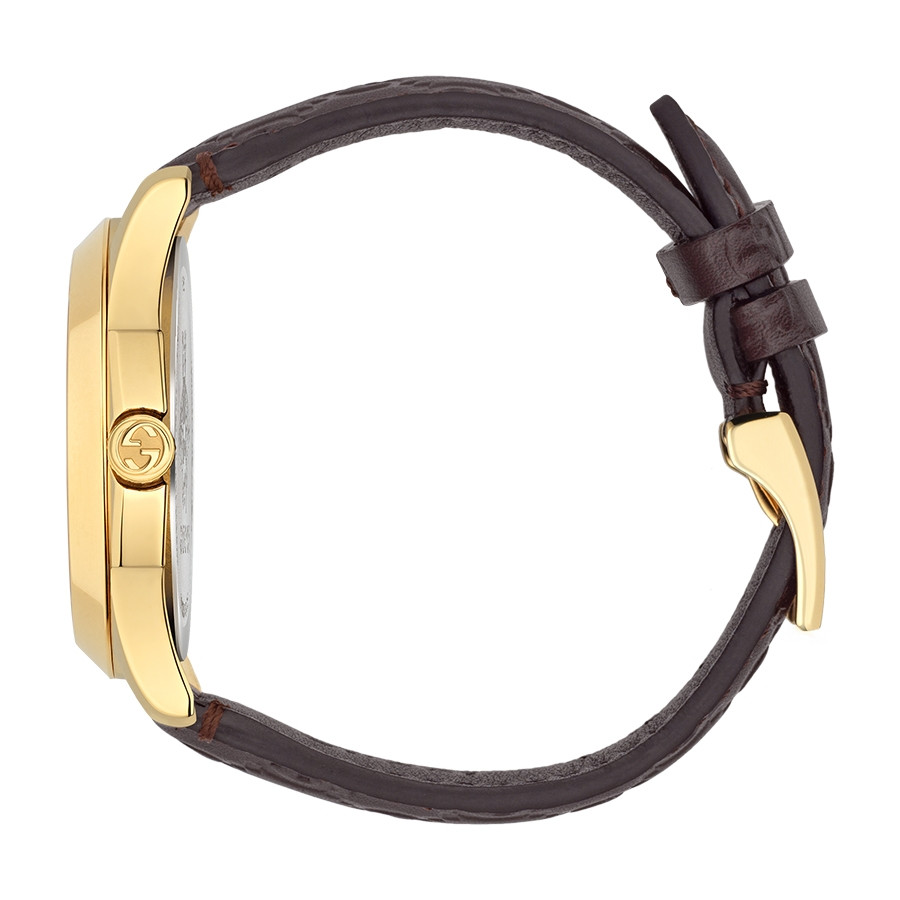 Gucci Signature 38mm Yellow Gold Dark Brown G-Timeless Leather Watch Side View